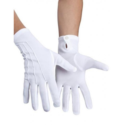 GLOVES WRIST XL+BUTTON WHITE