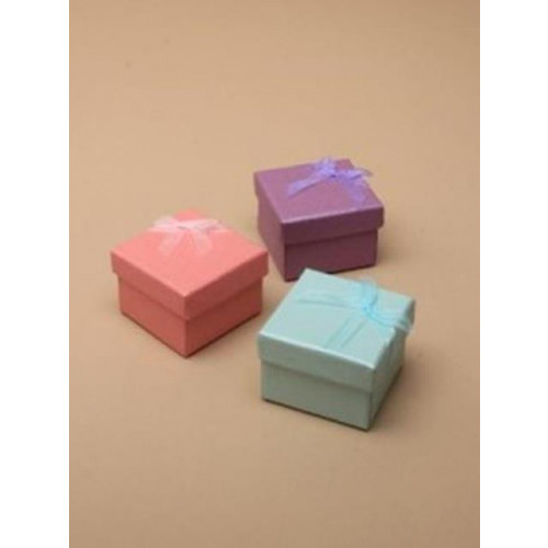 PK/12  GIFT BOX/COLOURED PATTERNED TEXTURED PAPER 5X5X3.5CM.