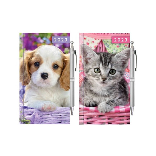 SLIM DIARY & PEN, WEEK TO VIEW KITTEN & PUPPY 12 X PIECES