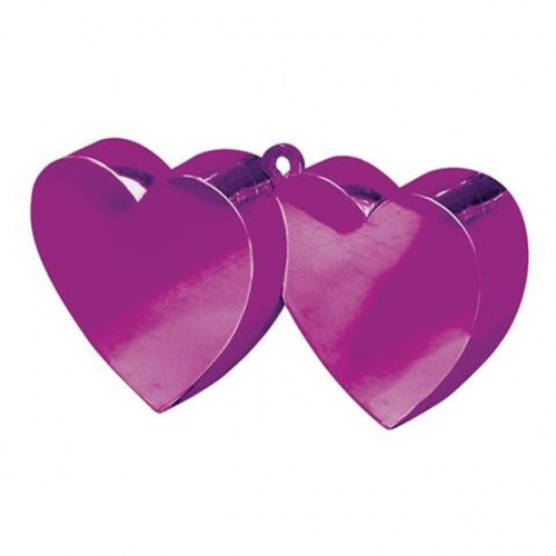 BALLOON WEIGHT DOUBLE HEART MAGENTA