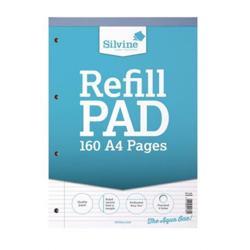 Silvine A4 Refill Pad, 160 pages, N. Feint & Margin (Light Blue cover)