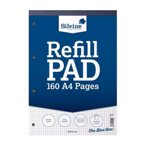 Silvine A4 Refill Pad, 160 pages, 5mm Squares (Dark Blue cover)