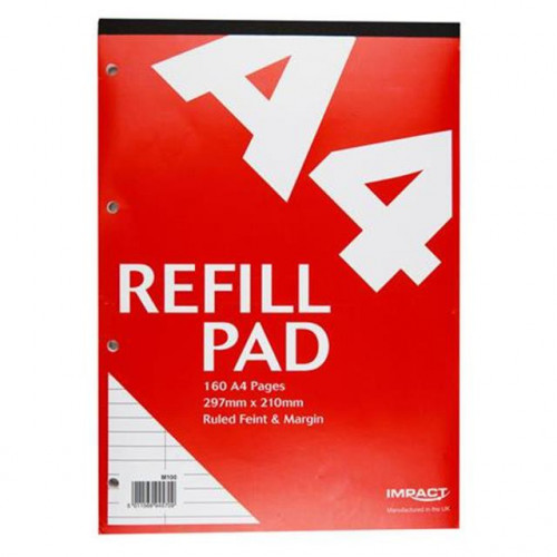 Impact A4 Refill Pad, 160 pages, Feint & Margin (Red cover)