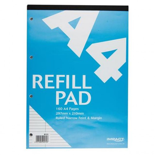 Impact A4 Refill Pad, 160 pages,  Narrow Feint & Margin (Light Blue cover)