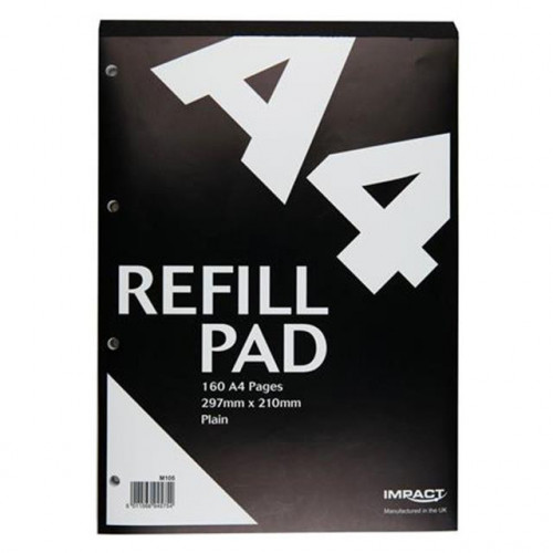 Impact A4 Refill Pad, 160 pages, Plain (Black cover)