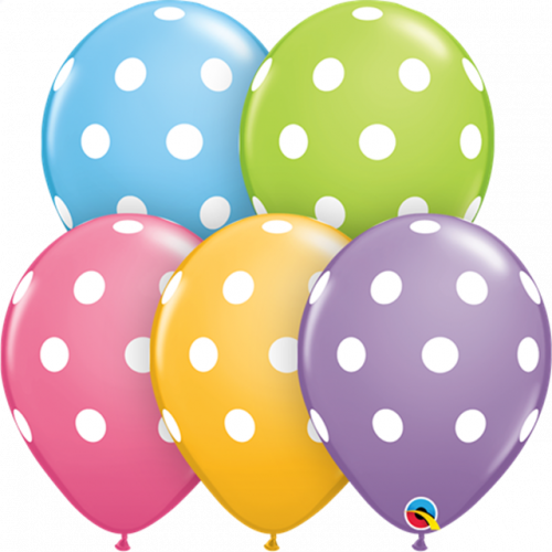 "11"" Pk25 Big Polka Dots (Pastels)"