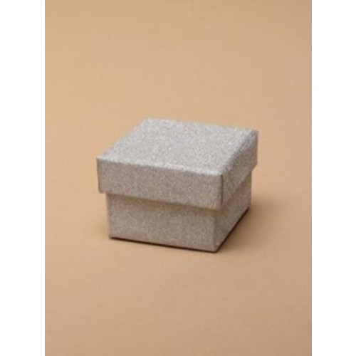 Gift Box / Silver glitter gift box  5x5x3.5cm. 12 pieces