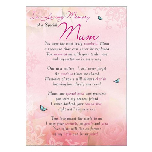 PK6 GRAVE CARDS Special Thoughts Mum  120 x 165 mm
