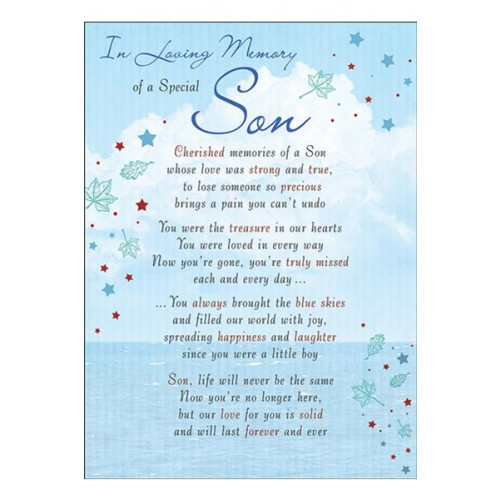 PK6 GRAVE CARDS Special Thoughts Son  120 x 165 mm