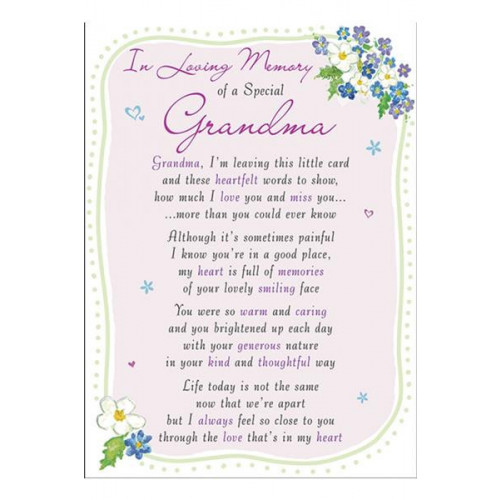 PK6 GRAVE CARDS Special Thoughts Grandma  120 x 165 mm