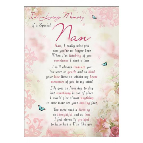 PK6 GRAVE CARDS Special Thoughts Nan   120 x 165 mm