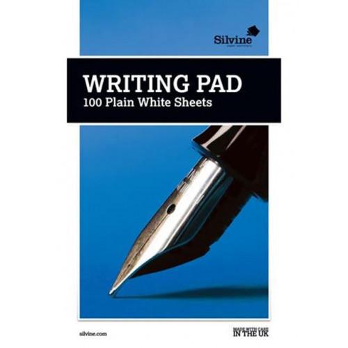 Silvine Medium A5 White Plain Writing Pad 100 sheets