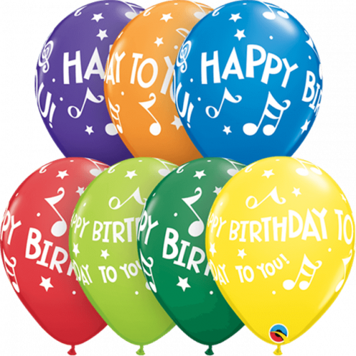 """11"""" ROUND CARNIVAL AST PK25 HAPPY BIRTHDAY TO YOU MUSIC NOTES"""