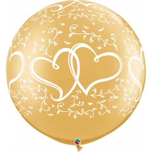"""30"""" Latex Gold Pk2 Entwined Hearts"""
