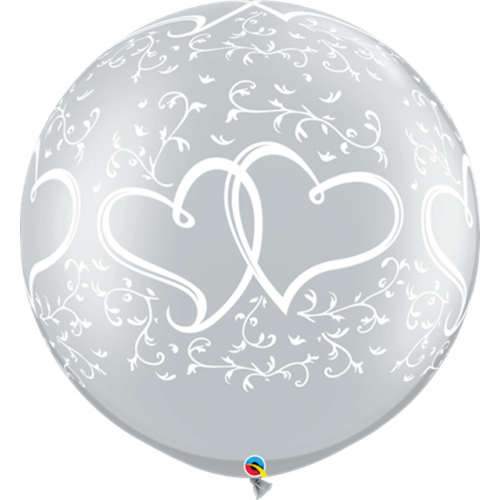 """30"""" Latex Silver Pk2 Entwined Hearts"""
