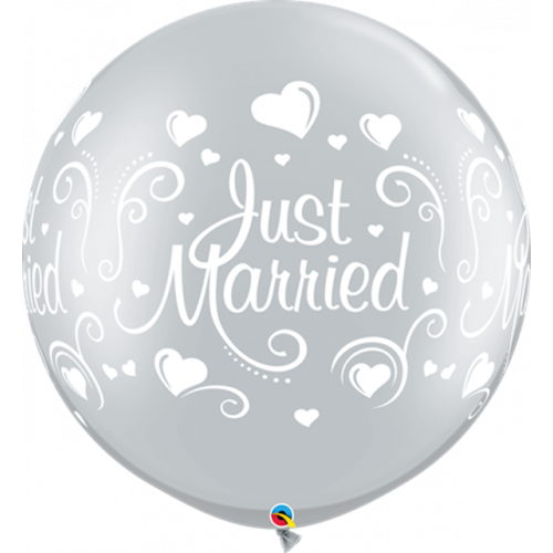 """30"""" Latex Silver Pk2 Just Married"""