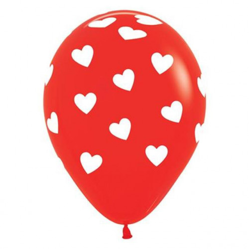 """11"""" Classic Hearts Red & White Latex"""