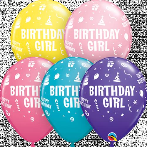 "11"" ROUND SPECIAL AST PK25 BIRTHDAY GIRL"