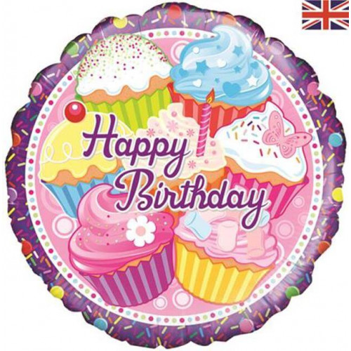 """18"""" FOIL CUPCAKE BIRTHDAY HOLOGRAPHIC"""