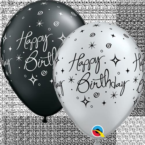 "11"" ROUND P BLACK&SILVER PK25 BIRTHDAY ELEGANT SPARKLES & SWIRLS"
