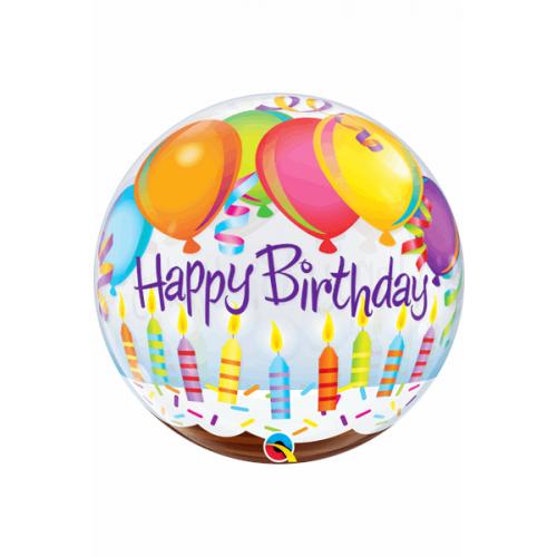 "22"" SINGLE BUBBLE BIRTHDAY BALLOONS & CANDLES"