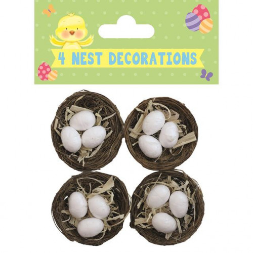 4 Nests With Eggs, Pack Of 12