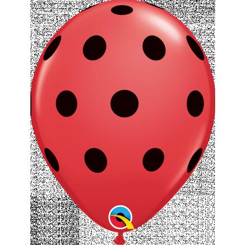 """11"""" Red Pk25 Big Polka Dots"""