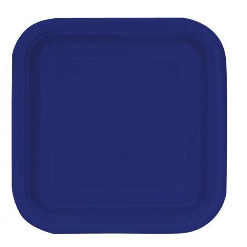 "14 TRUE NAVY BLUE 9"" SQUARE PLATES"