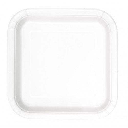 "14 BRIGHT WHITE 9"" SQUARE PLATES"