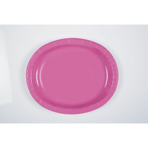 8 HOT PINK OVAL PLATES