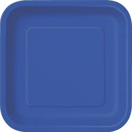 """14 ROYAL BLUE 9"""" SQUARE PLATES"""