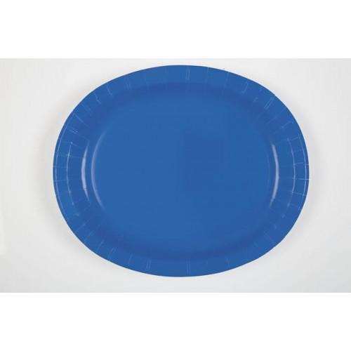 8 ROYAL BLUE OVAL PLATES