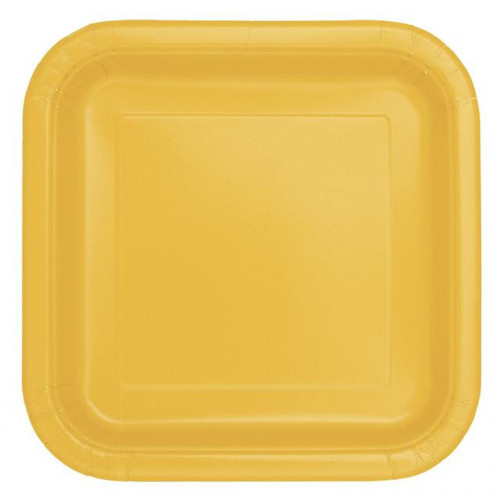 "14 SUNFLOWER YELLOW 9"" SQUARE PLATES"