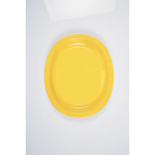 8 SUNFLOWER YELLOW OVAL PLATES