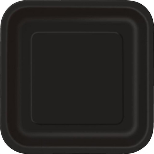 "14 MIDNIGHT BLACK 9"" SQUARE PLATES"