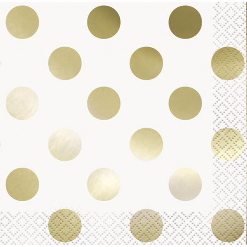 16 GOLD FOIL DOT BEVERAGE NAPKIN-FOIL