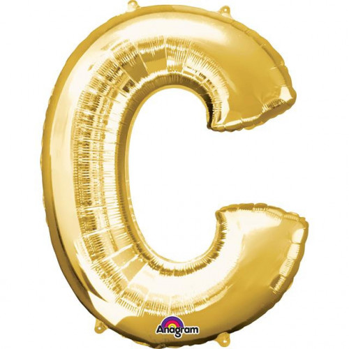 "16"" FOIL 'C' GOLD BALLOON"