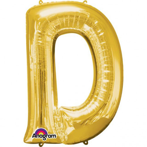 """16"""" FOIL 'D' GOLD BALLOON"""