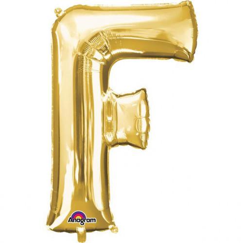 "16"" FOIL 'F' GOLD BALLOON"