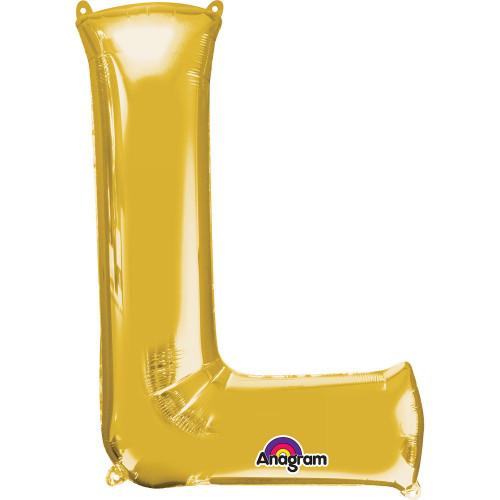 "16"" FOIL 'L' GOLD BALLOON"
