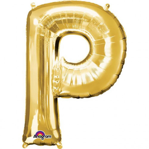 "16"" FOIL 'P' GOLD BALLOON"