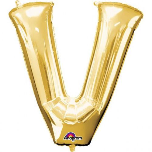"""16"""" FOIL 'V' GOLD BALLOON"""
