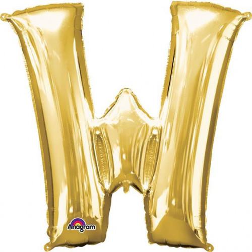 "16"" FOIL 'W' GOLD BALLOON"