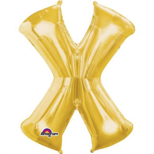 "16"" FOIL 'X' GOLD BALLOON"