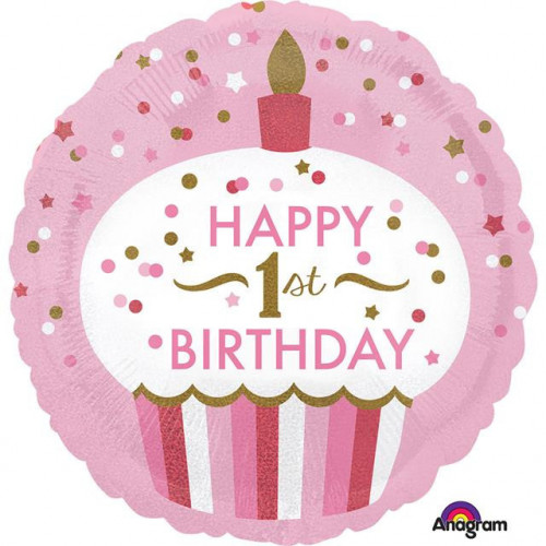 SD-C 1ST BIRTHDAY CUPCAKE GIRL FOIL BALLOON