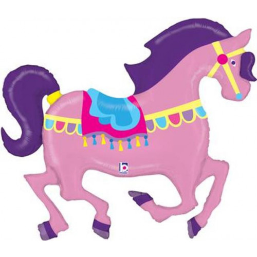 "48"" SHAPE CAROUSEL HORSE HOLOGRAPHIC (K) PKG"