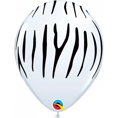 """11"""" White Pk25 Zebra Stripes"""