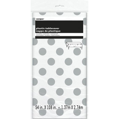 SILVER DOT TABLECOVER 54X108