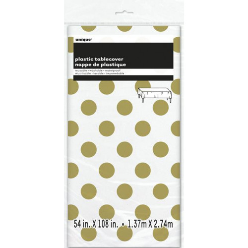 GOLD DOT TABLECOVER 54X108