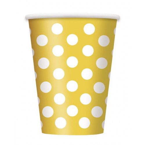 6 SUNFLOWER YELLOW DOTS 12OZ CUPS